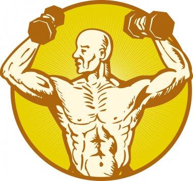 male human anatomy body builder flexing muscle