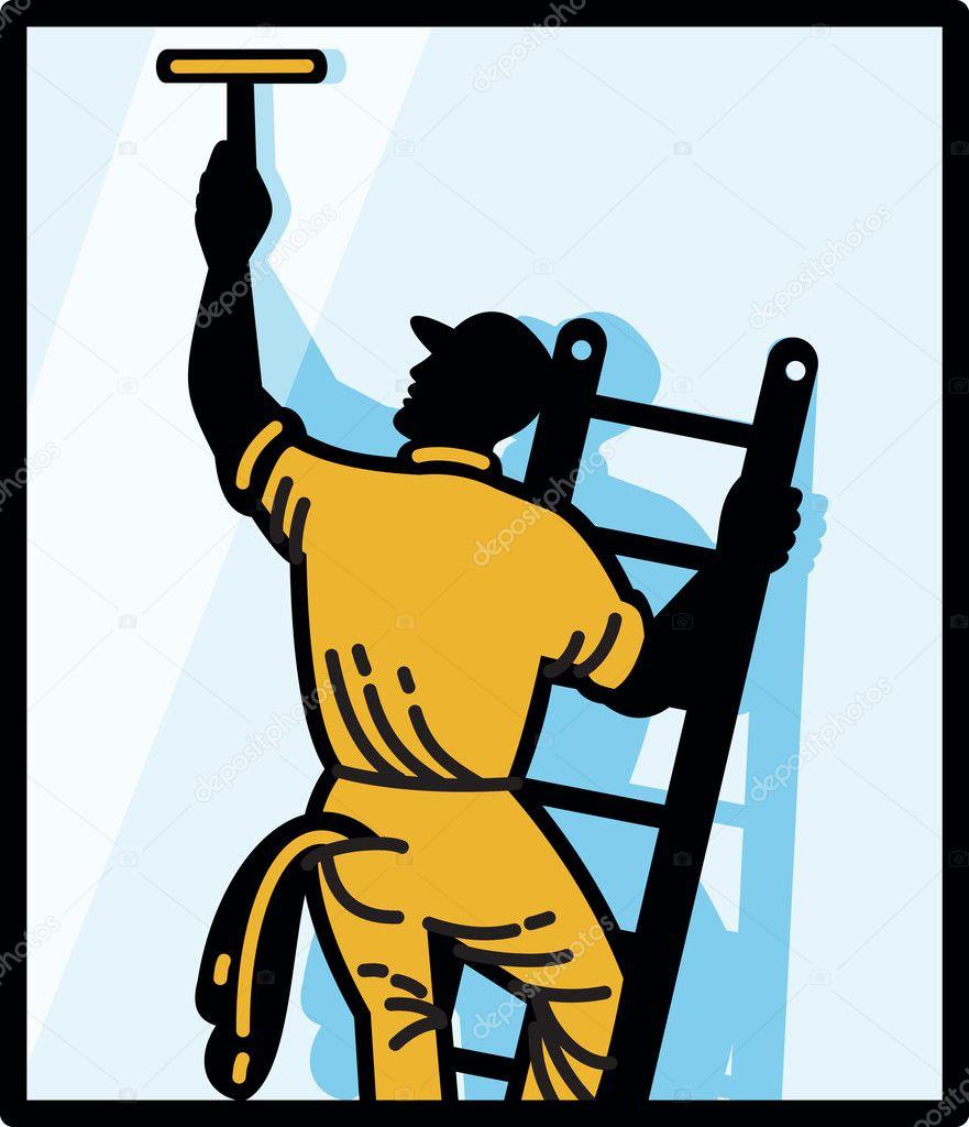 Window Cleaner Worker Cleaning Ladder Retro