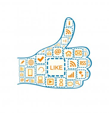 Hand with Thumb up and Social Media Square Icons