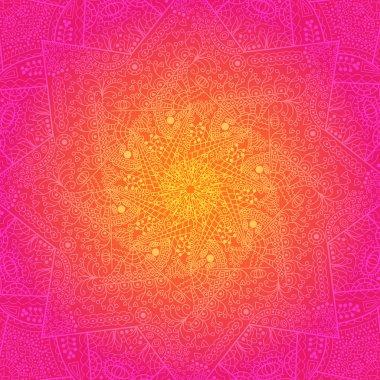 Vibrant Vintage Ornament Pink Card. Vector Mandala Element stock vector