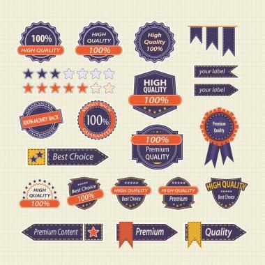 Set of Retro Quality Labels Badges