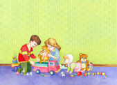 Fotografie Watercolor illustration. Children playing in the room