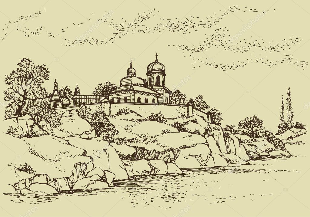 Vector landscape. Old monastery on a rocky hill above the riv