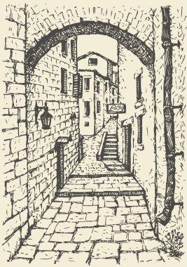 Vector cityscape. Narrow medieval street