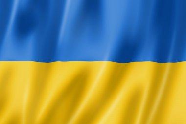 Ukraine flag, three dimensional render, satin texture stock vector