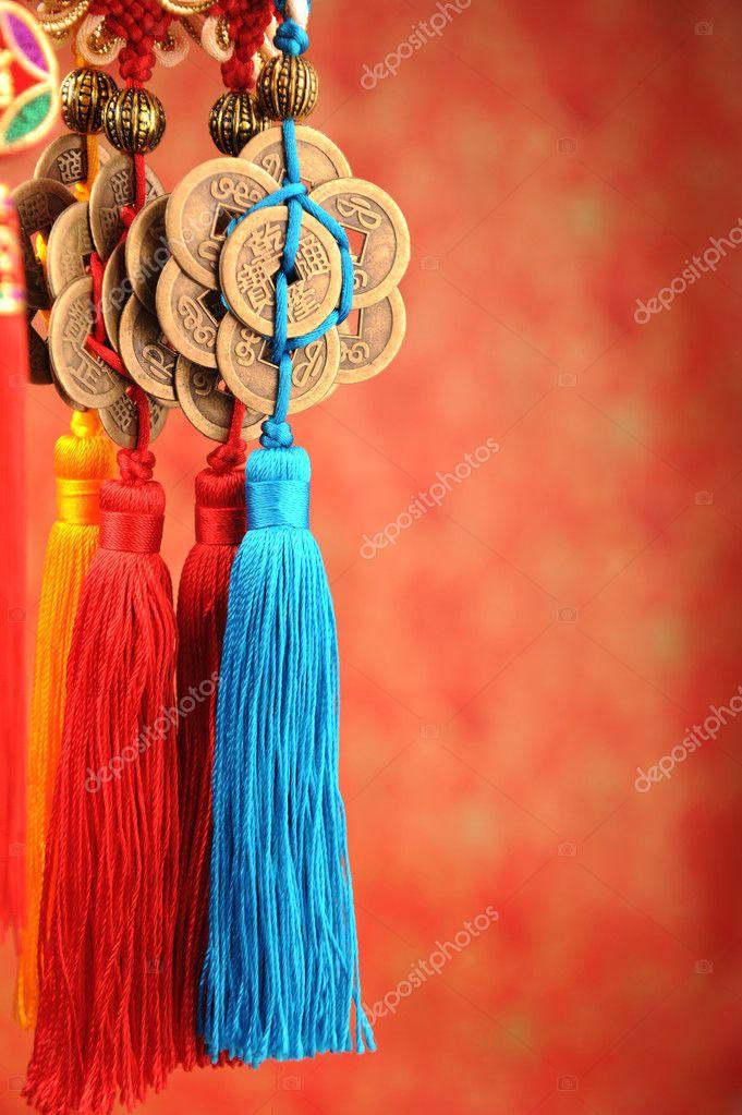 Glück Knoten für Chinesisches Neujahr-Begrüßung — Stockfoto ...