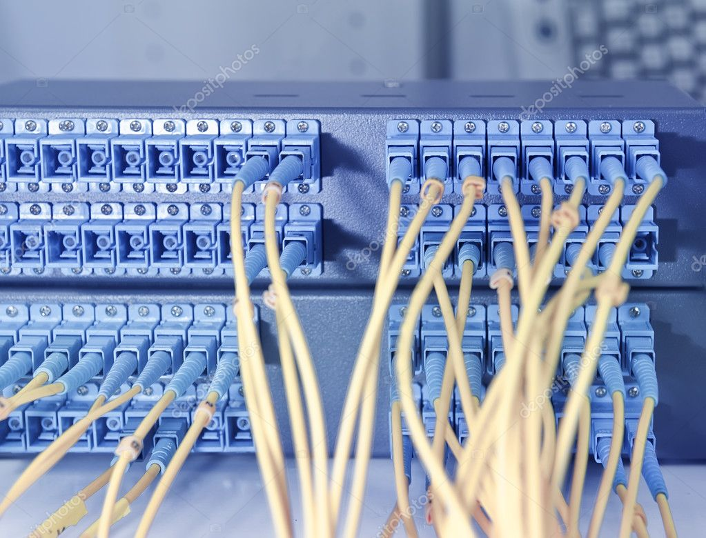 Fiber Optical Network Cables Patch Panel And Switch Stock Photo Wiring