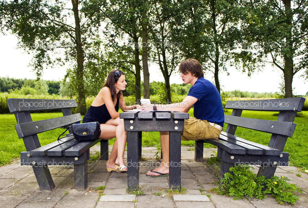 Couple at picnic table