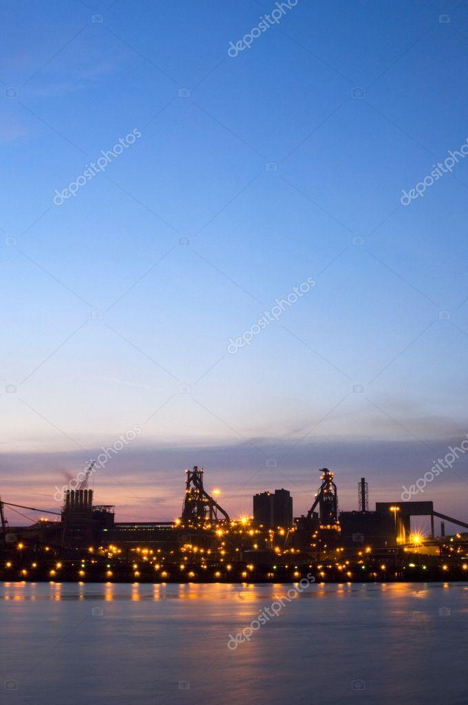 Steel works at dusk