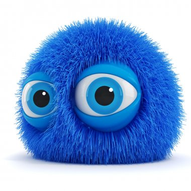 3d funny fluffy creature with big blue eyes stock vector
