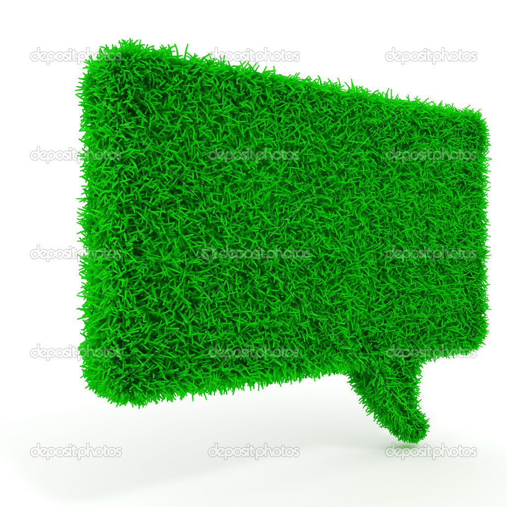 3d green grass bubble talk on white background