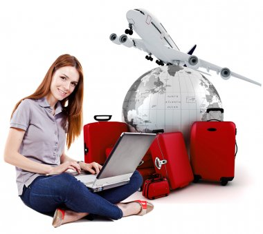 Beautiful young woman online trip planning with 3d luggage in the background