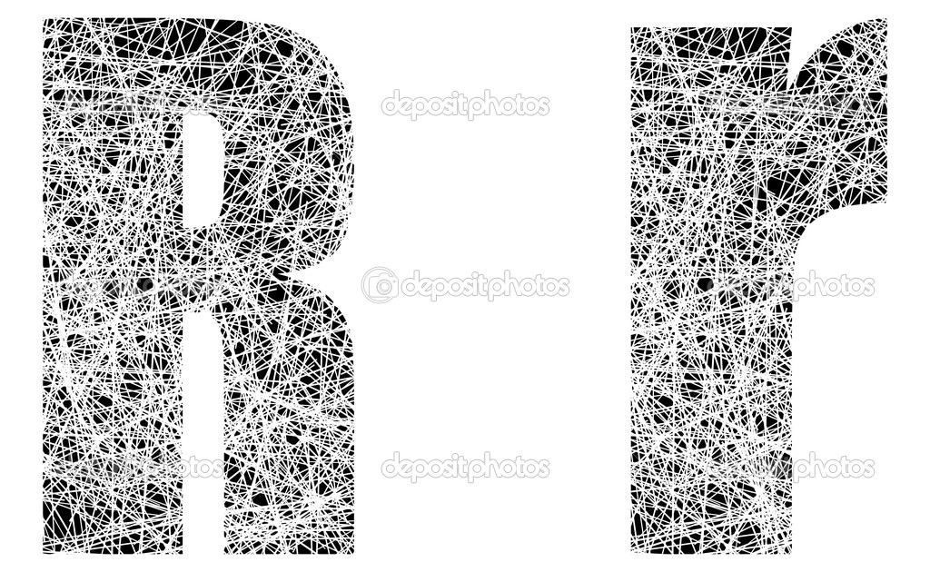 Abstract Black And White Font Letter R Stock Vector C Apotterdd