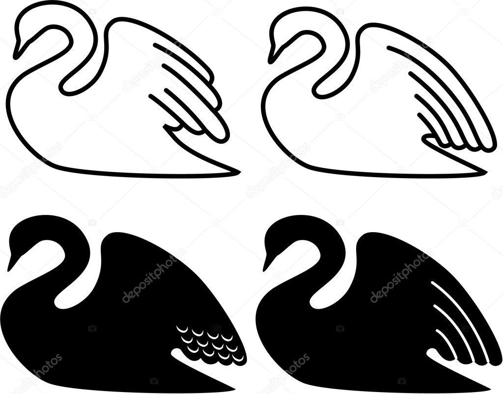 Illustration of a swan swimming.