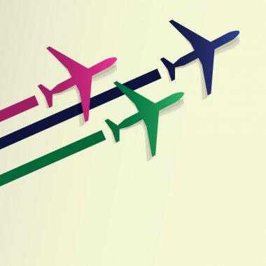 Colorful Airplanes Background Design in Editable Vector Format stock vector