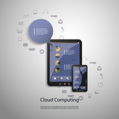 Blue Cloud Computing Concept Design in Editable Vector Format stock vector
