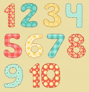 Vintage numbers patchwork set.
