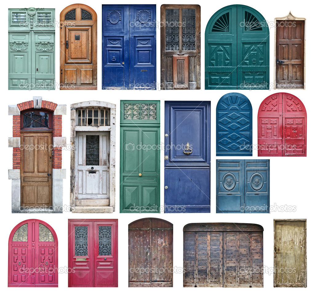 Collection of old wooden doors isolated on white \u2014 Photo by photomaru  sc 1 st  Depositphotos & Old wooden doors \u2014 Stock Photo © photomaru #11134591