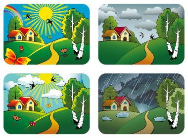 Set of different weather landscapes: sunny, cloudy, overcast and rainy, vector illustration stock vector