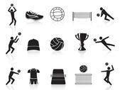 Fekete röplabda ikonok beállítása