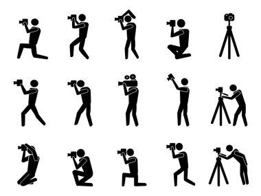 Black photographer icons set