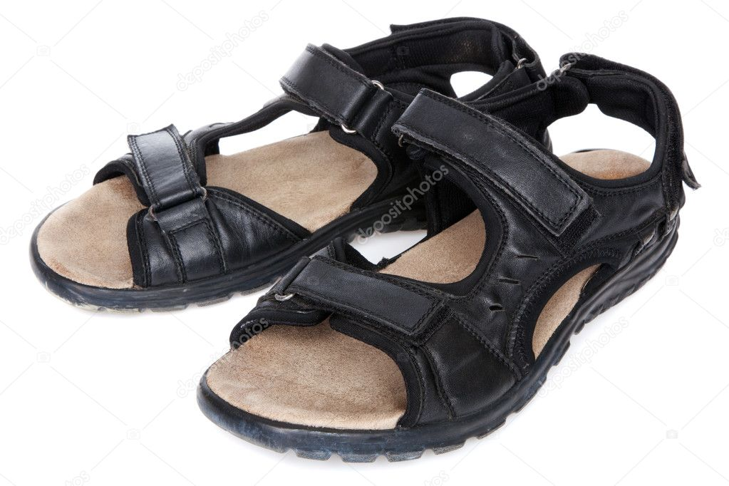 aa90fd767 Black male sandals isolated on white background — Photo by ...