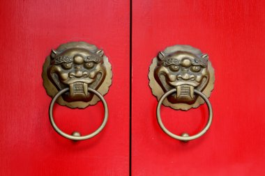 Doorknob with Antique bronze lion face sculpture