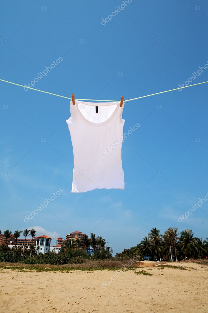 T-shirt drying on clothesline