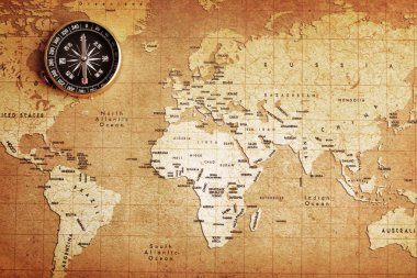 Compass on a Treasure map