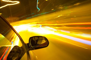 Night traffic,shoot from the window of rush car,motion blur stee