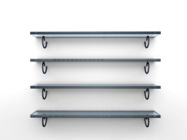 Four glass shelves