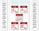 Fotografie Holiday icons calendars for july 2012.