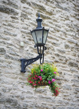 Old lantern with flowers