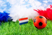 Orange Soccer ball and Dutch flag on grass