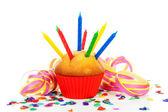 Birthday cupcake, sok-sok gyertya, a fél streamerek és a szín