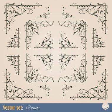 Frame corner elements for decoration and design clip art vector