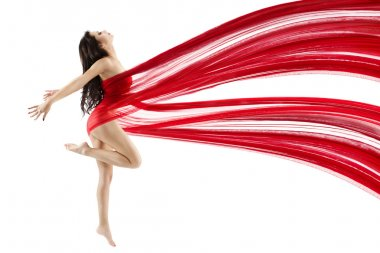 Woman dancing with red flying waving chiffon cloth. Dancer with