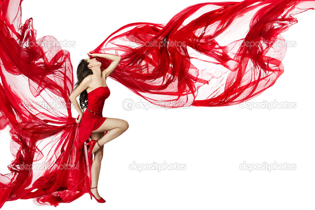 Woman in red dress flying on wind flow dancing over white background, Fashion Beauty Model, Posing with Red Cloth stock vector