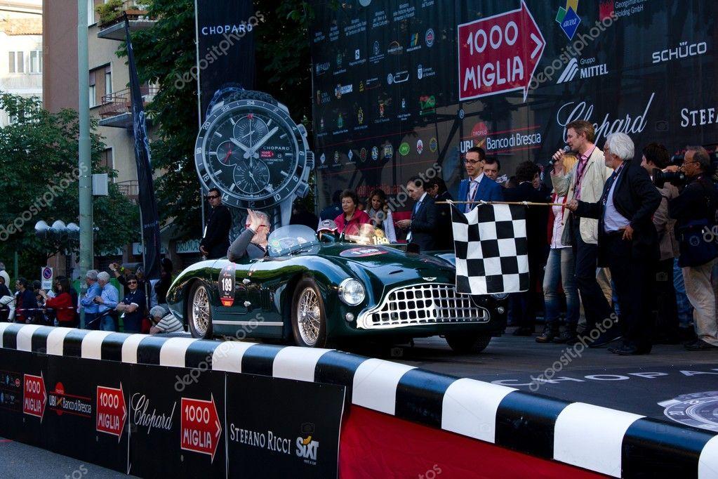 Green 1951 Aston Martin Db3 At The Start Of 2012 1000 Miglia Stock
