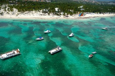 Boats and beach from above