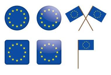 Badges with European Union flag