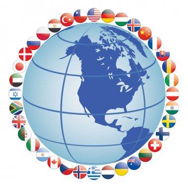 Flag icons around globe