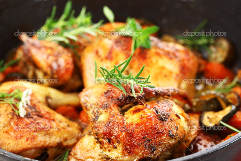 Grilled chicken on vegetables