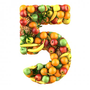 Number five made from 3d fruits. Isolated on a white. stock vector