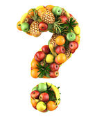 Question mark made from 3d fruits.