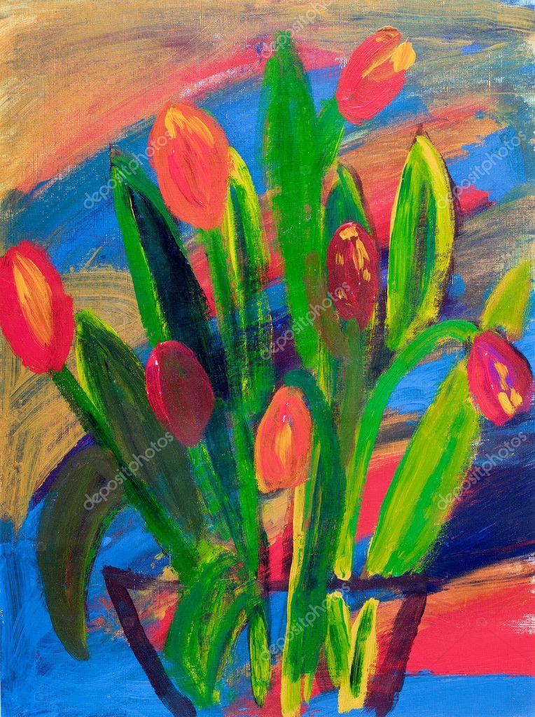 tulipanes en una pintura del florero en acrílico por gale kay — Foto ...