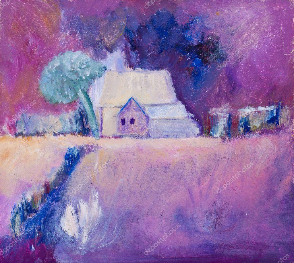 Farmhouse on farmland painting in oils