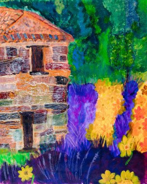 French lavendar and stone house painting by Kay Gale