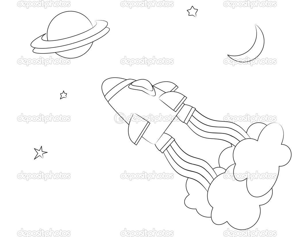Uzay Gemisi Boyama Sayfası Stok Vektör Rixipix 11895015