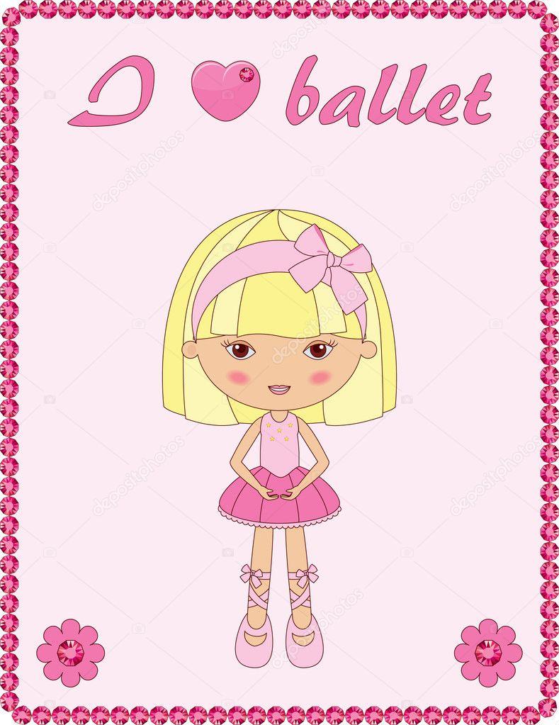 marco rosa con linda bailarina — Vector de stock © Natalie-art #11488573